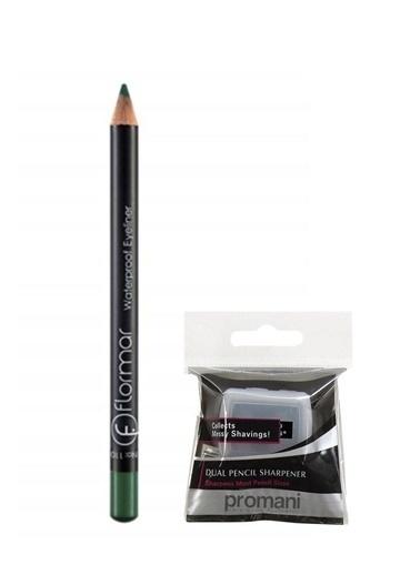 Flormar Flormar Waterproof Açık Yeşil Eyeliner No:110+Promani 2 Delikli Kalemtıraş Renkli